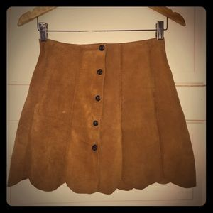 Vintage Suede Mini Skirt with Front Buttons